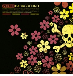Abstract skull and flowers grunge background desig vector image vector image