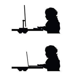 Child with computer silhouette vector