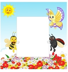 Cute insect with blank sign vector image vector image