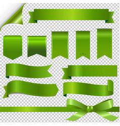 green ribbons set vector image