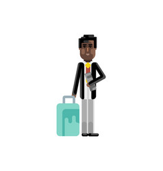 black man with travel bag and ticket in hands vector image