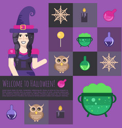 halloween witch with cauldron vector image