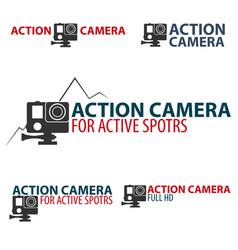 set action camera logo camera for active sports vector image