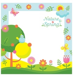 Spring Season Icons Frame vector image