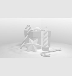 3d christmas present white square box wrapped in vector