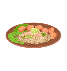 Appetizing thai food rice with salmon slabs and vector