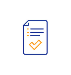 approved checklist line icon accepted or vector image