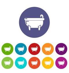 bathtub icons set color vector image