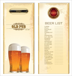 Beer list vector image