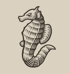 black and white a seahorse vector image