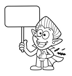 Black and white cartoon dracula mascot is holding vector
