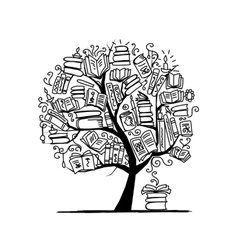 Book tree sketch for your design vector