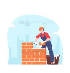 builder puts brick wall vector image