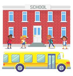 bus school riding kids education establishment vector image