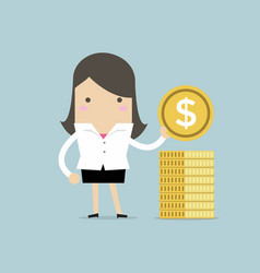 businesswoman puts gold coin in a pile vector image