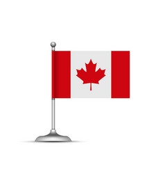 canadian flag standing on white background vector image