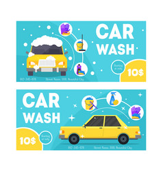 Car wash service banner card set vector
