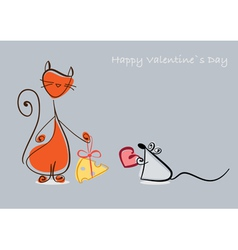 Cat mouse valentine vector image
