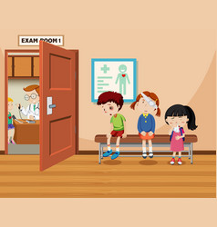Children wait in front of exam room vector
