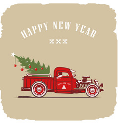 christmas truck side view in color image vector image