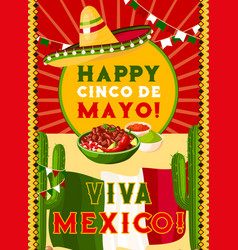 cinco de mayo card with mexican flag fiesta food vector image