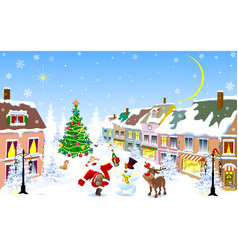 City in the winter jolly santa deer snowman on vector