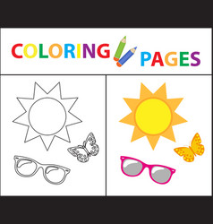Coloring book page summer set glasses sun vector
