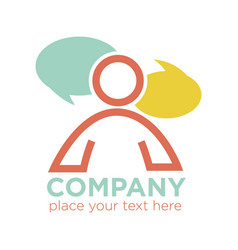 company logo design with person silhouette and two vector image