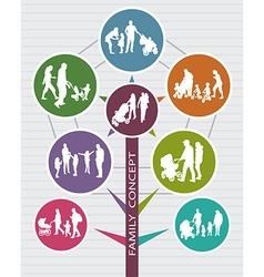 Conceptual Family Background with Silhouettes vector