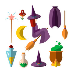 cute flat set witch witchcraft items vector image