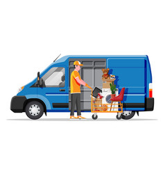 Delivery van full home stuff inside vector