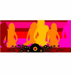 Disco club girls background vector