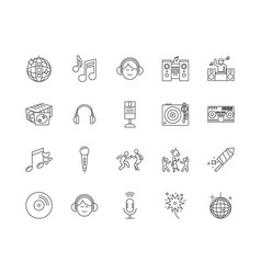 Disk jockey line icons signs set outline vector