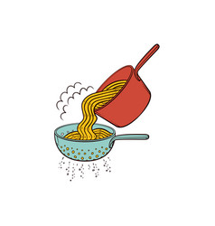 Draining water from spaghetti in pasta strainer vector