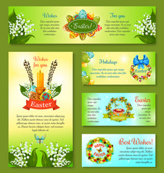 easter holidays cartoon banner template set vector image
