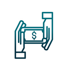 economy business hands with money transaction vector image