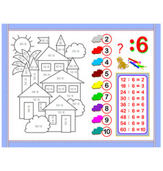 Exercises for kids with division number 6 vector