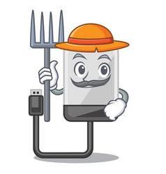 farmer hard drive in shape of mascot vector image