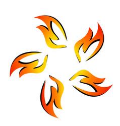 fire flame together symbol vector image