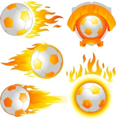 Fire soccer emblem vector
