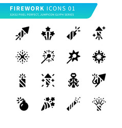 Firework line icons 01 vector