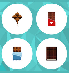 flat icon sweet set of dessert delicious bitter vector image