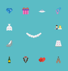 Flat icons accessories wedding gown sexuality vector