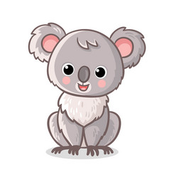 fluffy koala is sitting on a white background vector image