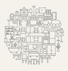 Furniture line icons circle vector