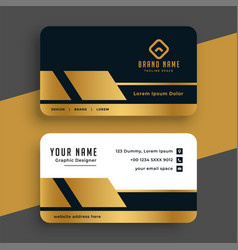 Geometric golden premium business card design vector