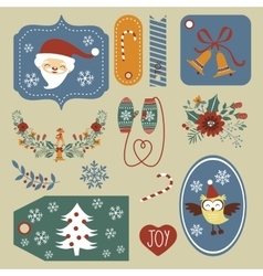 Gift tags and Christmas graphic elements vector image