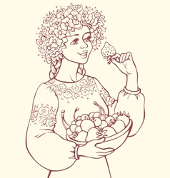 Girl in a lush wreath holding bowl berries vector