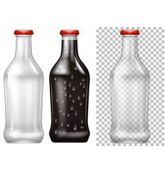 Glass bottles with and without drink vector