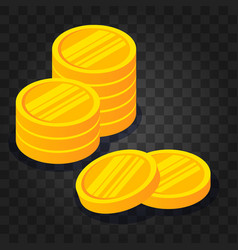 gold coin stack on dark transparent background vector image